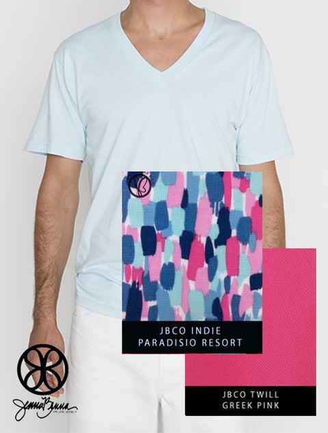 Light Blue LA Apparel Unisex V-Neck Tee + Indie Paradisio Resort - JennaBenna Sorority