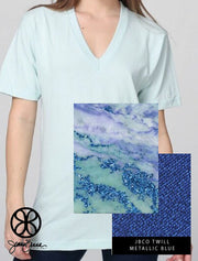 Seafoam American Apparel Unisex V-Neck Tee + Sparkle Waterfall Marble - Sorority Apparel