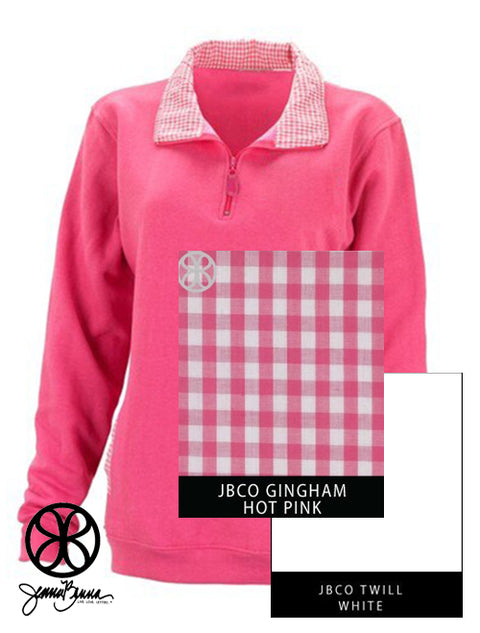 Pink Reagan Ladies Fit 1/4 Zip Sweatshirt + Hot Pink Gingham - JennaBenna Sorority