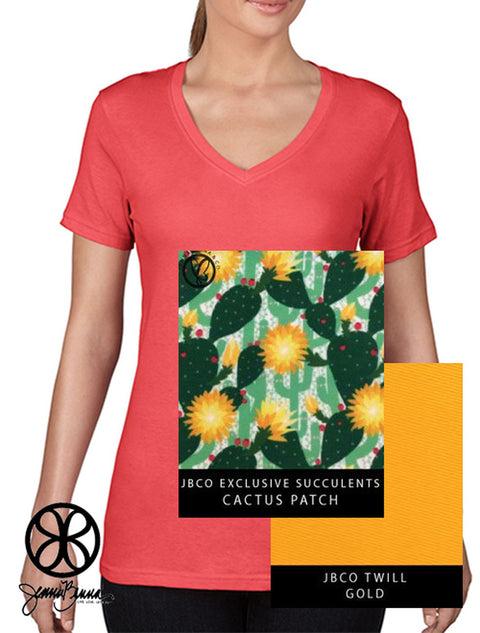 Coral Ladies Featherweight V-Neck T-Shirt + Cactus Patch Succulents - Sorority Apparel