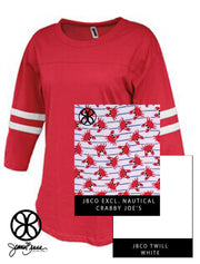 Red Pep Rally Ladies Fit 3/4 Sleeve Jersey + Crabby Joe's Nautical - Sorority Apparel