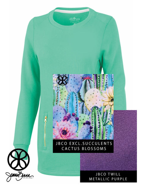 Mint Emily Ladies Fit Gold Zipper Tunic Sweatshirt + Cactus Blossoms Succulents - JennaBenna Sorority