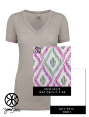 Silver Next Level Ladies Fit Poly Cotton V-Neck Tee  + Ikat Orchid Pink Indie - JennaBenna Sorority