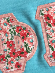 Cancun Ladies Tank Top With Mutli Coral Mint Floral On Light Coral Twill - JennaBenna Sorority