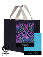 Navy Blue Regular Canvas Tote + Embassy - JennaBenna Sorority