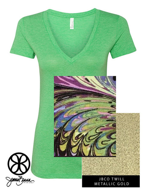 Green Bella Ladies Triblend Deep V-Neck Tee + Ocean Splash - JennaBenna Sorority