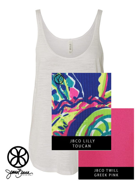 White Slub Bella Ladies Flowy Side-Slit Tank Top + Lilly Toucan - JennaBenna Sorority