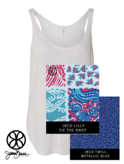 White Bella Ladies Flowy Side-Slit Tank Top + Lilly Tie The Knot - JennaBenna Sorority