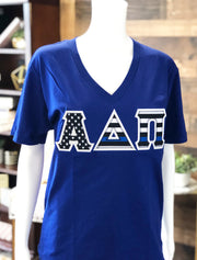 Lapis V-Neck With Thin Blue Line Flag On Metallic Silver Twill - Sorority Apparel