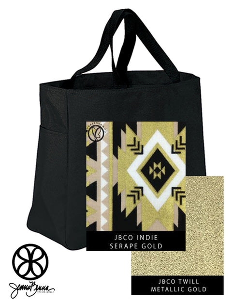 Black Essentials Denier Polyester Tote Bag + Serape Gold Indie - JennaBenna Sorority