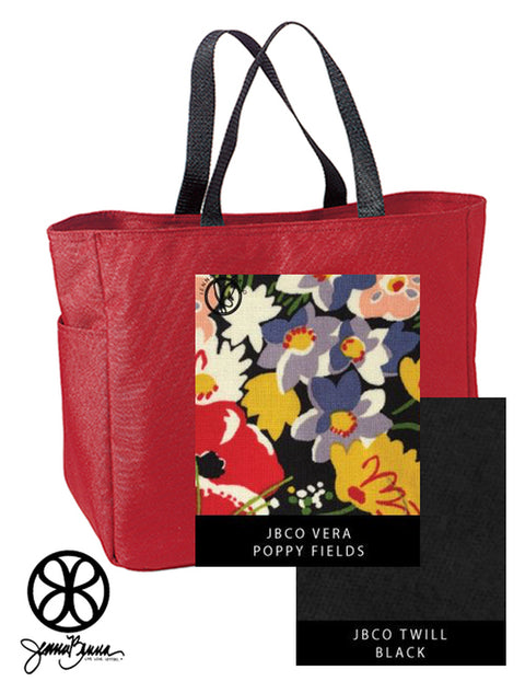 Red Essentials Denier Polyester Tote Bag + Vera Poppy Fields - Sorority Apparel