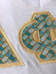 Light Blue V-Neck With Nautical Mermaid Mint On Metallic Gold Twill - JennaBenna Sorority