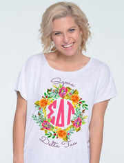 Citrus & Floral Wreath Monogram Sorority Printed Shirt - Sorority Apparel