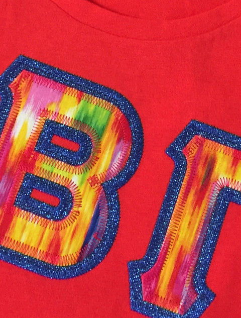 Red Crewneck With Color Luscious Vivid Abstract Warm On Metallic Blue Twill - Sorority Apparel