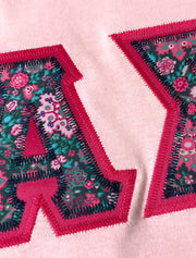 Light Pink Crewneck With Floral Cottage Pink On Greek Pink Twill - JennaBenna Sorority