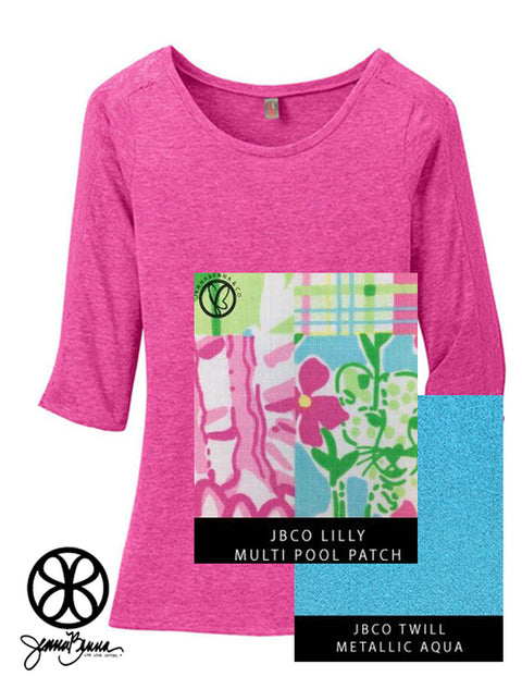 Fuchsia District Ladies Tri-Blend Lace Insert 3/4 Sleeve Tee + Lilly Multi Pool Patch - JennaBenna Sorority