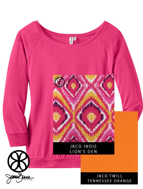 Dark Fuchsia District Ladies Modal 3/4 Sleeve Raglan Tee + Lion's Den Indie - JennaBenna Sorority