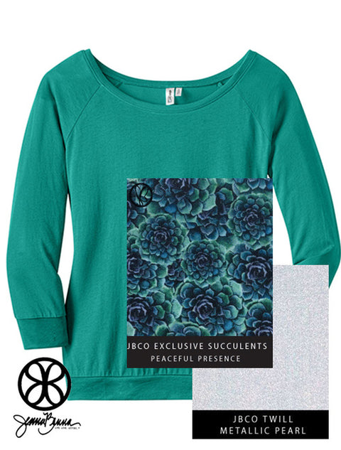 Jade District Ladies Modal 3/4 Sleeve Raglan Tee + Peaceful Presence Succulents - Sorority Apparel
