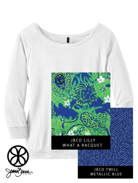 White District Ladies Modal 3/4 Sleeve Raglan Tee + Lilly What A Racquet - Sorority Apparel