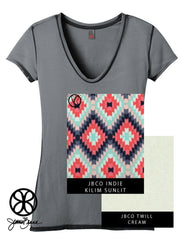 Charcoal District Ladies Faded Rounded Deep V-Neck Tee + Kilim Sunlit Indie - Sorority Apparel