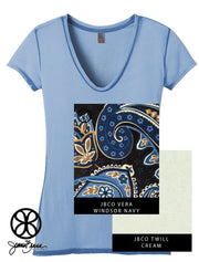 Blue District Ladies Faded Rounded Deep V-Neck Tee + Vera Windsor Navy - JennaBenna Sorority