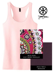 Light Pink District Ladies Fit Racerback Tank + Vera Very Berry Paisley - JennaBenna Sorority