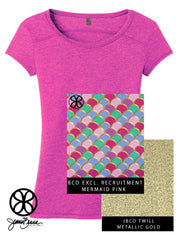 Pink District Ladies Gravel Poly Cotton Crewneck Tee + Mermaid Pink Nautical - Sorority Apparel