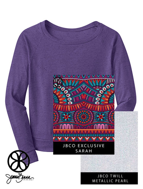 Purple District Ladies Textured Wide-Neck Long Sleeve Tee + Sarah Indie - JennaBenna Sorority