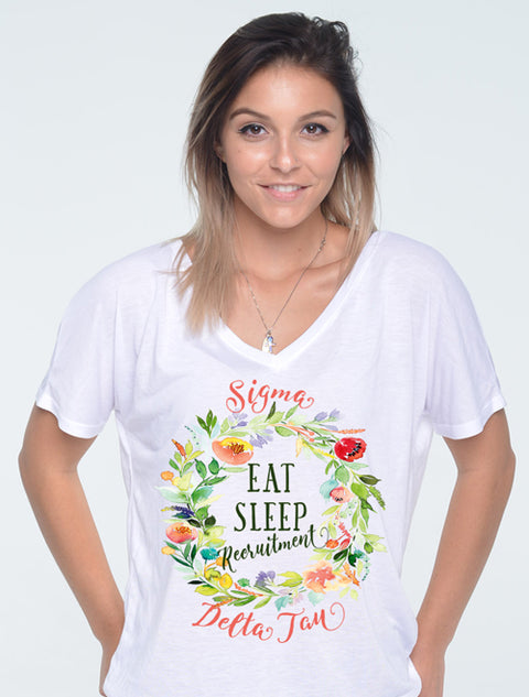 Eat, Sleep, Recruitment Sorority Printed Shirt - JennaBenna Sorority