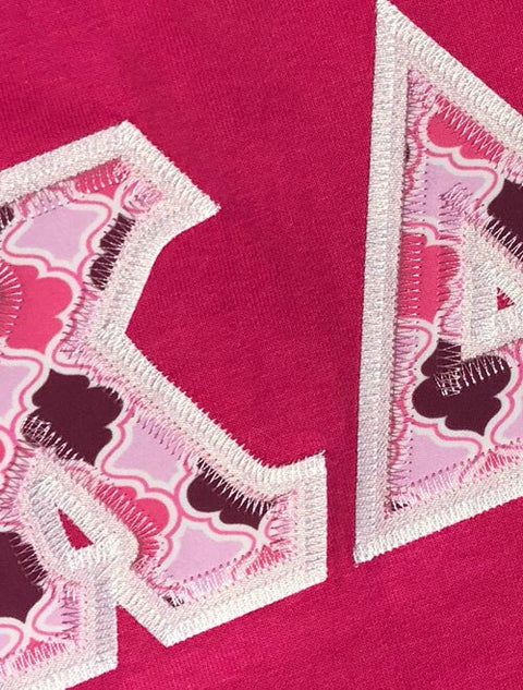 Kappa Delta Chi Fabric Letter Perfect Combo Tee - Sorority Apparel