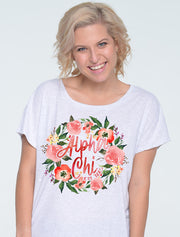 Olive's Scarlet Floral Wreath Sorority Printed Shirt - JennaBenna Sorority