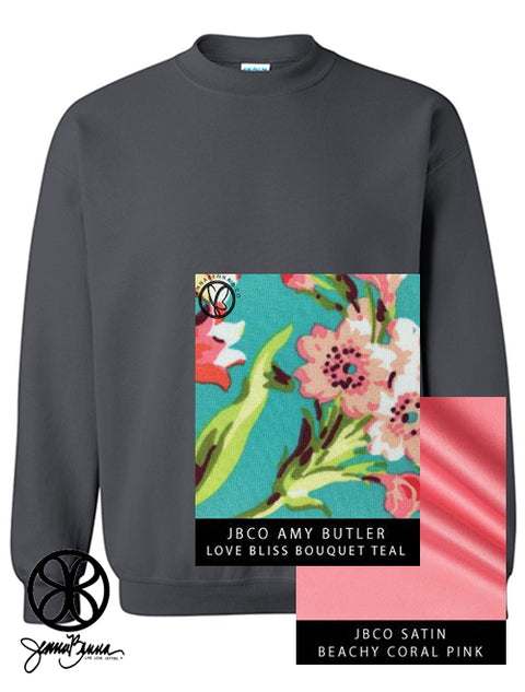 Charcoal Crewneck Sweatshirt With Amy Butler Love Bliss Bouquet Teal On Beachy Coral Pink Satin - JennaBenna Sorority