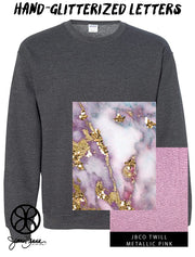 Dark Heather Crewneck Sweatshirt With Hand Glitterized Marble Goldrush Merlot On Metallic Pink Twill - JennaBenna Sorority