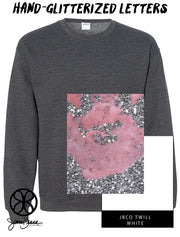 Dark Heather Crewneck Sweatshirt With Hand Glitterized Marble Silvermine Pinky Peach On White Twill - JennaBenna Sorority