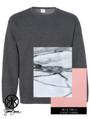 Dark Heather Crewneck Sweatshirt With Marble Carrara On Light Coral Twill - JennaBenna Sorority
