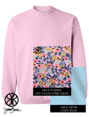 Light Pink Crewneck Sweatshirt Floral Les Fleur Pink & Gold On Light Blue Satin - JennaBenna Sorority