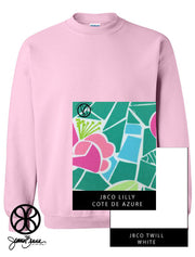 Light Pink Crewneck Sweatshirt With Lilly Cote De Azute On White Twill - JennaBenna Sorority