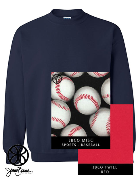 Navy Crewneck Sweatshirt With Sports Baseball On Red Twill - Sorority Apparel