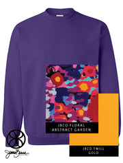 Purple Crewneck Sweatshirt With Floral Abstract Garden On Gold Twill - Sorority Apparel