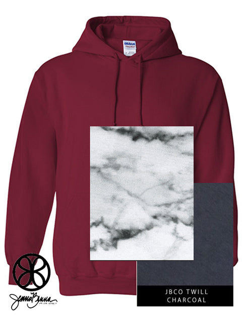 Cardinal Red Hoodie With Marble Bianco Venato On Charcoal Twill - JennaBenna Sorority