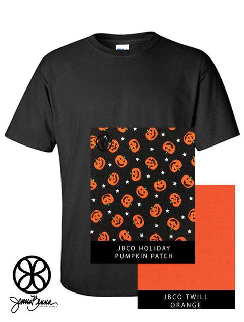 Black Crewneck With Pumpkin Patch On Orange Twill - Sorority Apparel