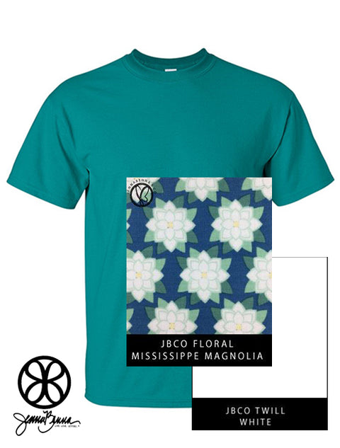 Jade Dome Crewneck With Floral Mississippi Magnolia On White Twill - JennaBenna Sorority