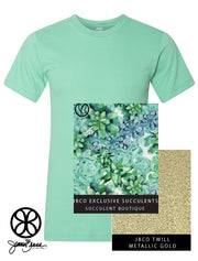 Mint Crewneck With Exclusive Succulent Fabric On Metallic Gold Twill - JennaBenna Sorority