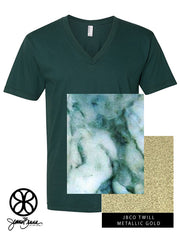 Forest Green V-Neck With Glacier Marble On Metallic Gold Twill - JennaBenna Sorority