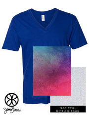 Lapis V-Neck With Ombre Cool On Metallic Pearl Twill - Sorority Apparel