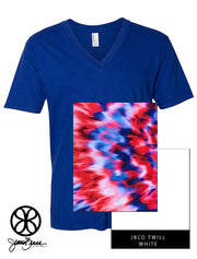 Lapis V-Neck With Tie Dye Bedazzled On White Twill - Sorority Apparel