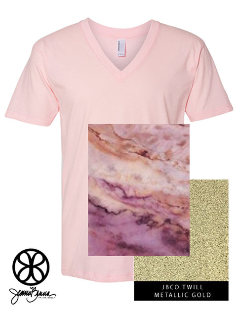 Light Pink V-Neck With Marble Pinot Noir On Metallic Gold Twill - Sorority Apparel
