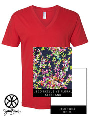 Red V-Neck With Kerry Ann Floral On White Twill - JennaBenna Sorority