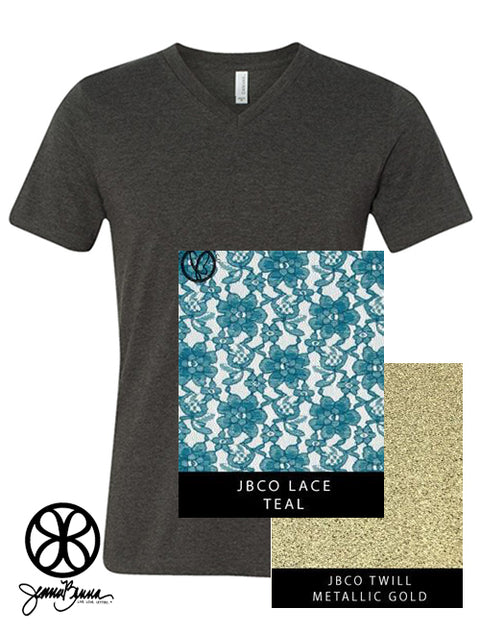Dark Grey Heather V-Neck With Teal Lace On Metallic Gold Twill - Sorority Apparel