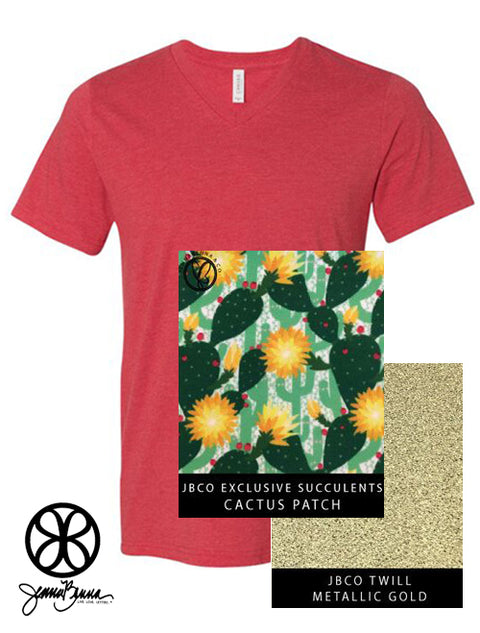 Heather Red V-Neck With Cactus Patch Succulents On Metallic Gold Twill - JennaBenna Sorority